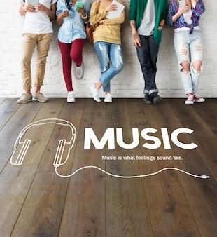 Concepto de entretenimiento de ocio de estilo de vida musical