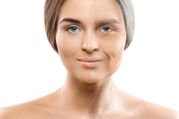 Concepto de envejecimiento. jóvenes y viejos comparaciones.