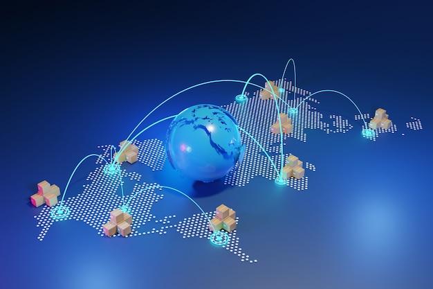 Concepto de envío mundial con cajas de paquetes en el mapa del globo terráqueo