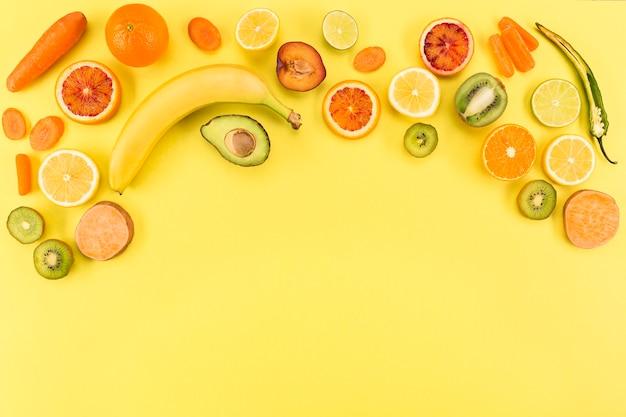 Concepto de espacio de copia de alimentación saludable