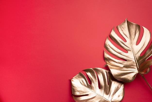 Concepto de estilo minimalista floral. exótica tendencia veraniega. hoja de monstera de palma tropical dorada