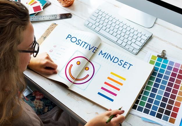 Concepto de estilo de vida de felicidad de pensamiento positivo