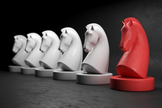 Concepto de estrategia del juego de mesa de ajedrez caballo con enfoque selectivo. renderizado 3d