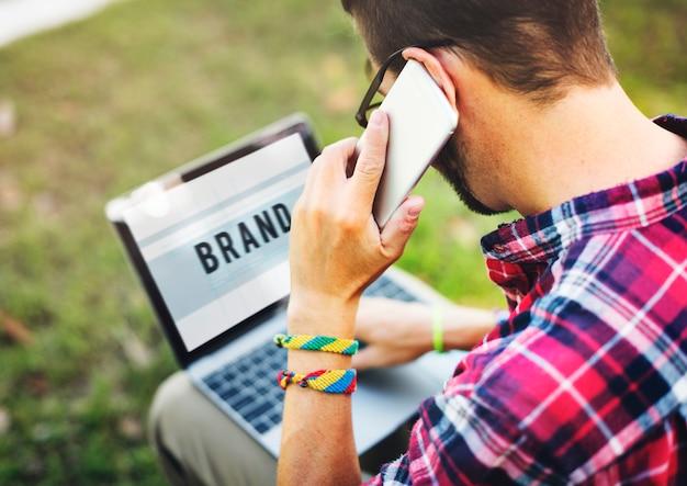 Concepto de estrategia de negocio de marketing de marca