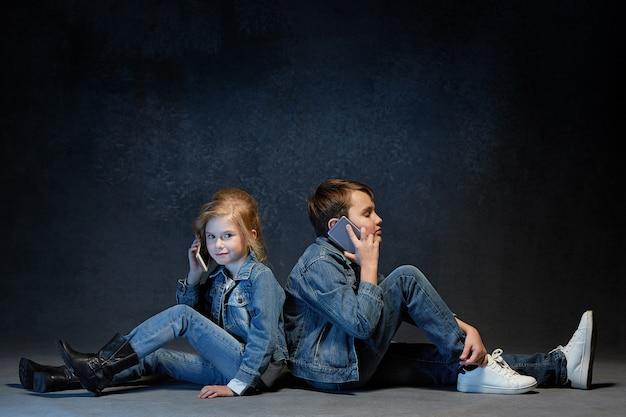 Concepto de estudio de grupo de niños