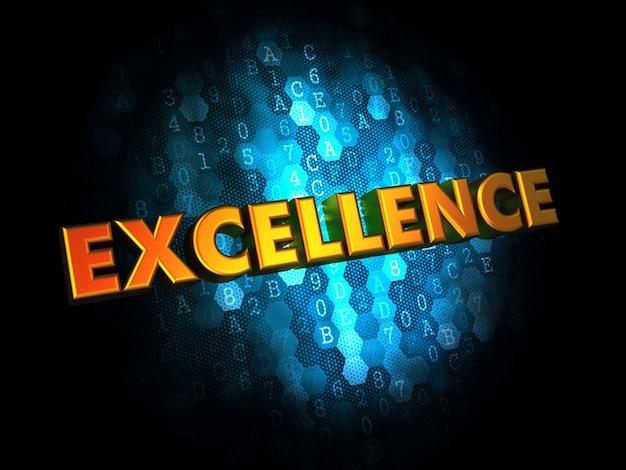 Concepto de excelencia - texto en color dorado sobre fondo digital azul oscuro.