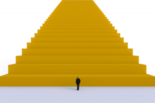 Concepto de éxito con el empresario, imagen de pie de empresario miniatura