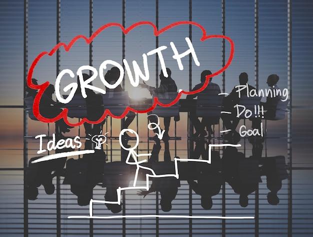 Concepto de éxito de misión de gestión de estrategia de crecimiento
