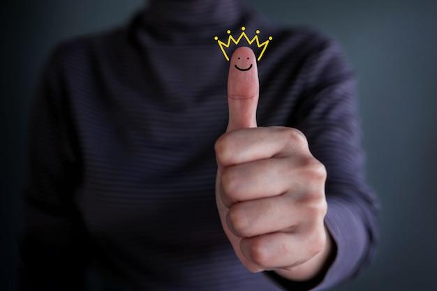 Concepto de experiencia del cliente, mejor calificación de servicios excelentes para satisfacción