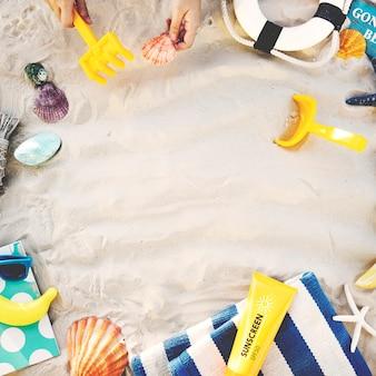 Concepto de exploración de viaje de vacaciones de vacaciones de verano de playa