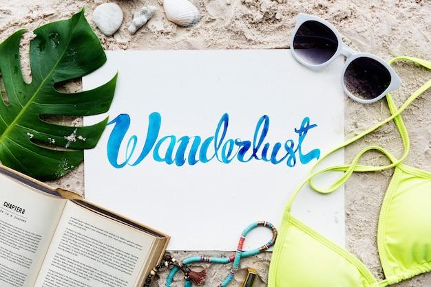 Concepto de la exploración del viaje de las vacaciones de vacaciones de verano de la playa