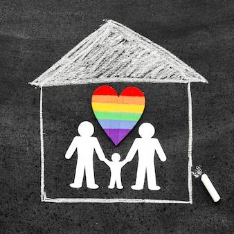 Concepto de familia de tiza dibujado en la pizarra con un corazón de arco iris