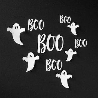 Concepto de fantasmas y elementos de halloween