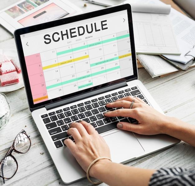 Concepto de fecha de programación de calendario de planificador