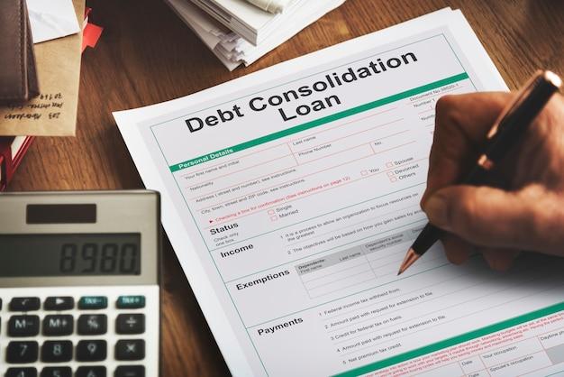 Concepto financiero de préstamos de consolidación de deuda