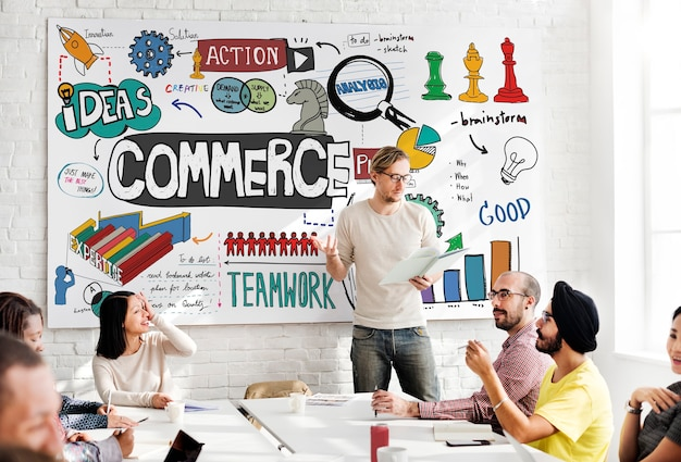 Concepto de finanzas de estrategia de marketing empresarial de comercio