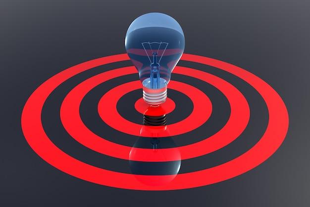 Concepto de finanzas de éxito. el centro del objetivo de la bombilla en el fondo. representación 3d