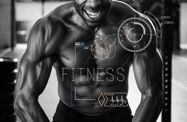 Concepto de fitness con ajuste hombre flexionando