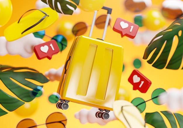 Concepto de fondo amarillo de verano maleta render 3d