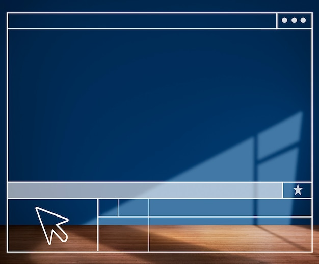 Concepto de fondo de pared de estructura de búsqueda de habitación azul