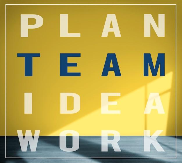 Concepto de fondo de pared de estructura de trabajo de idea de equipo de plan