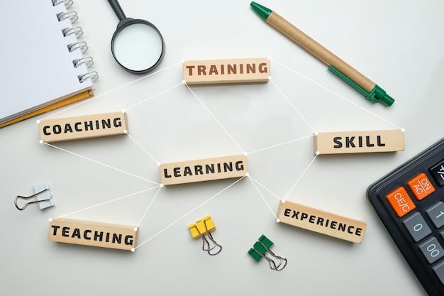 Concepto de formación: bloques de madera con inscripciones de entrenamiento, aprendizaje, habilidad, enseñanza.