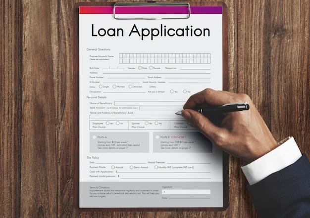 Concepto de formulario de ayuda financiera de solicitud de préstamo