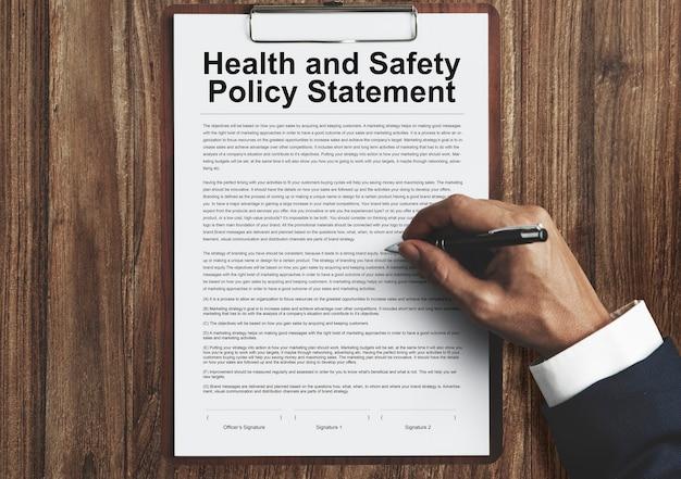 Concepto de formulario de declaración de política de salud y seguridad