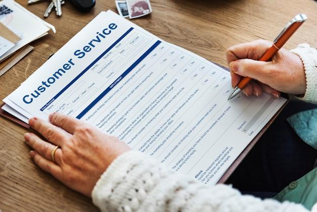 Concepto de formulario de solicitud de datos de rendimiento de servicio al cliente