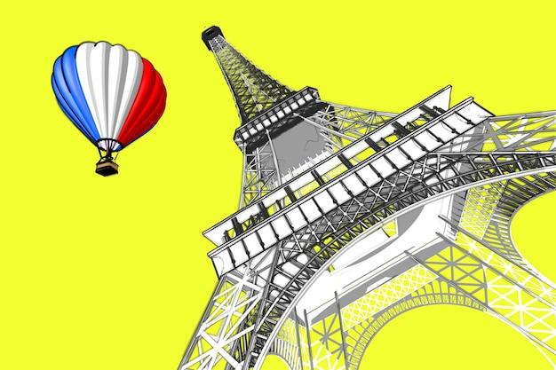 Concepto de francia. bocetos de parís estilo de dibujo a mano torre eiffel y globo aerostático con la bandera de francia sobre un fondo amarillo. representación 3d