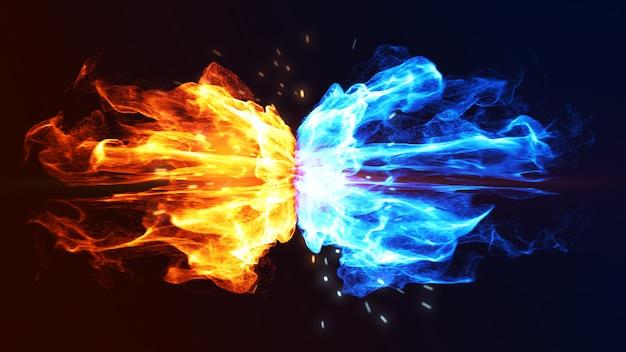 Concepto de fuego y hielo con chispa. 3d.