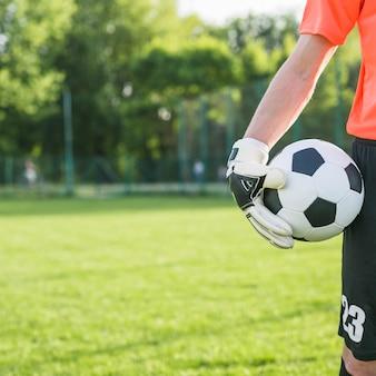 Concepto de fútbol de amateur con portero