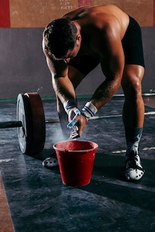 Concepto de gimnasio con magnesio