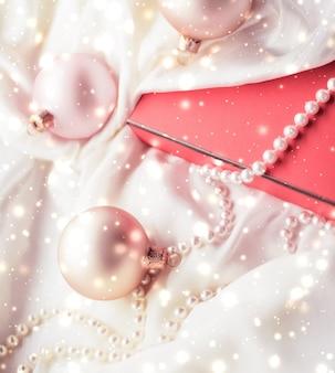 Concepto de glamour y decoración de marca de navidad fondo de vacaciones mágicas de navidad adornos festivos ...