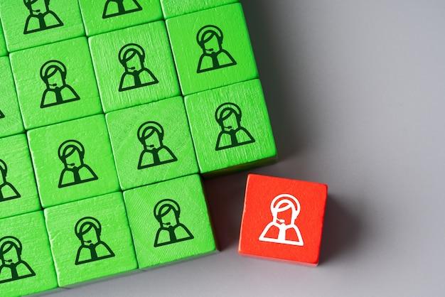 Concepto global de negocios y recursos humanos para liderazgo y equipo