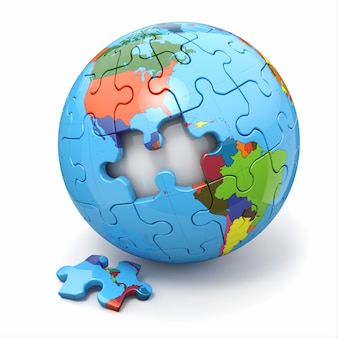 Concepto de globalización. rompecabezas de la tierra. 3d