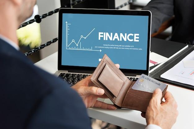 Concepto de gráfico de análisis de dinero de finanzas