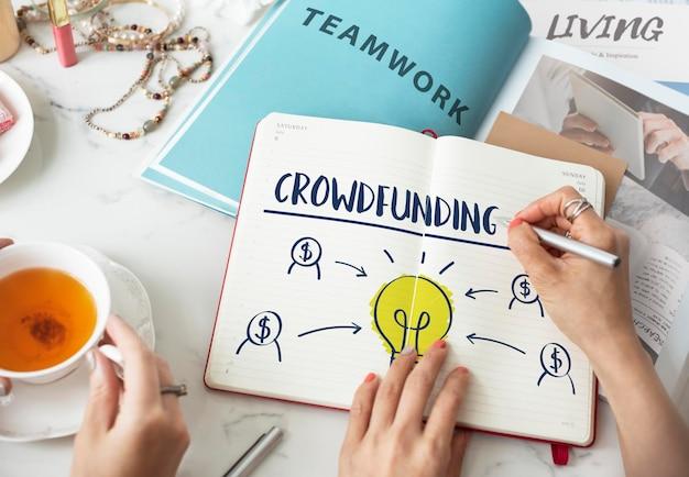 Concepto gráfico de bombilla de negocio de dinero de crowdfunding