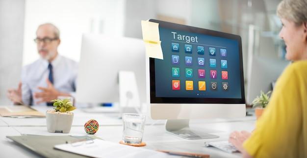 Concepto gráfico de comunicación empresarial de aplicación