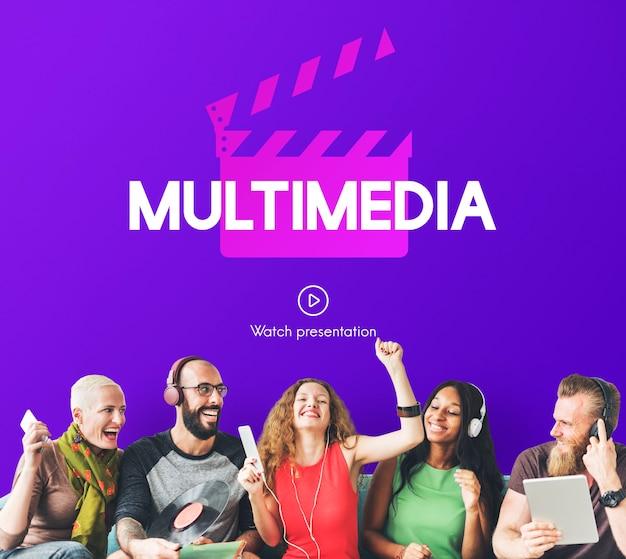 Concepto gráfico de entretenimiento de películas de medios