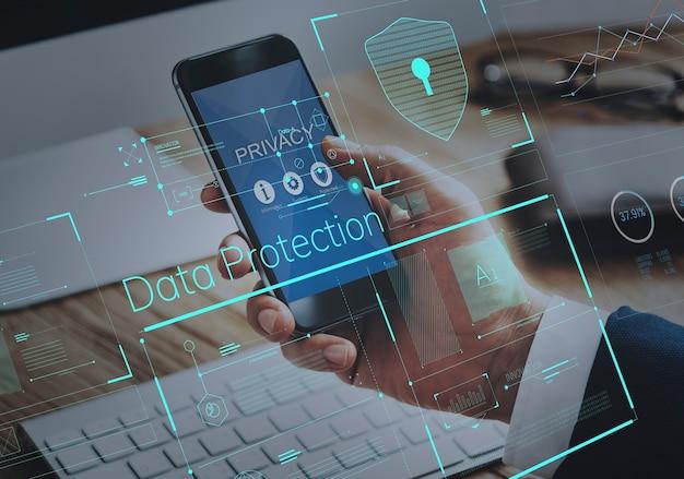 Concepto gráfico del escudo de la protección de datos de la seguridad de la privacidad