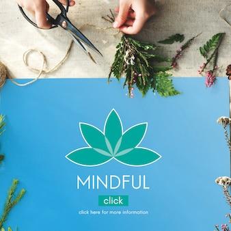 Concepto gráfico de la flor de loto de la salud de la meditación