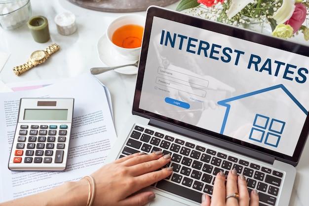 Concepto gráfico de inicio de sesión del sitio web de préstamos hipotecarios