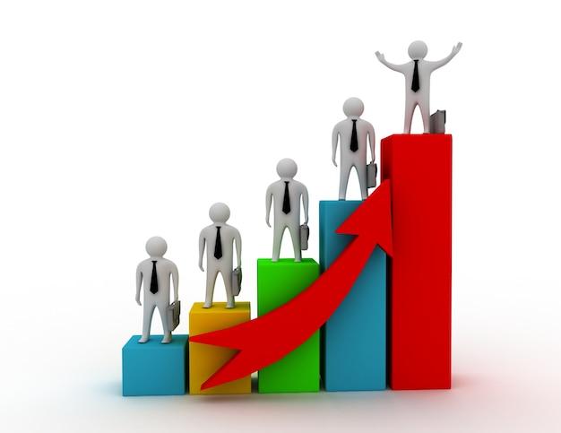 Concepto de gráfico de negocios 3d