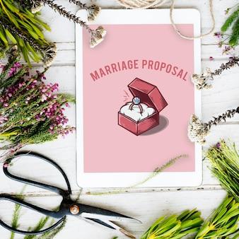 Concepto gráfico de propuesta de caja de anillo de bodas