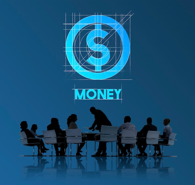 Concepto del gráfico de la tecnología de las personas de finanzas del dinero