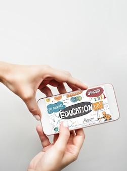 Concepto de gráficos de aprendizaje de estudios escolares de educación