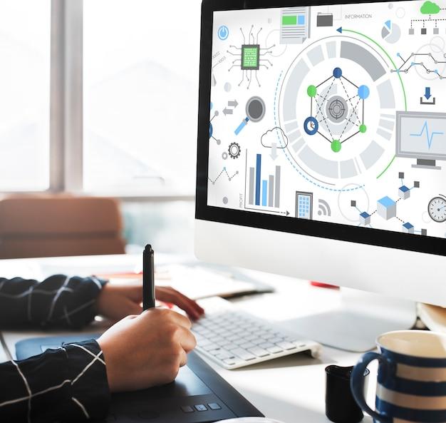 Concepto de gráficos de conexión de tecnología de la información