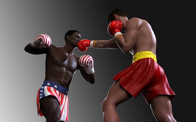 Concepto de guerra comercial entre estados unidos y china. 3d ilustración dos boxeador luchando ee.uu. y china bandera de golpes comerciales para el concepto: la guerra comercial.