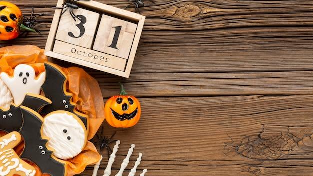 Concepto de halloween espeluznante de vista superior con espacio de copia